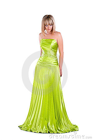 Pretty woman in green gown isolated on white