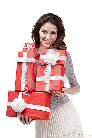 Pretty woman hands many presents