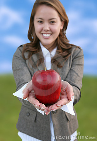 Pretty Woman Holding Apple