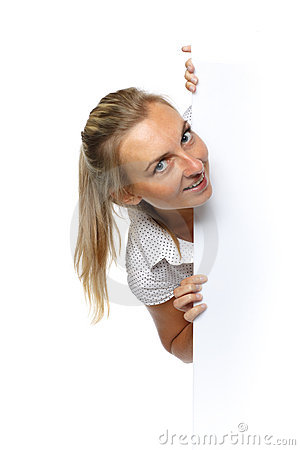 Pretty woman holding a blank billboard