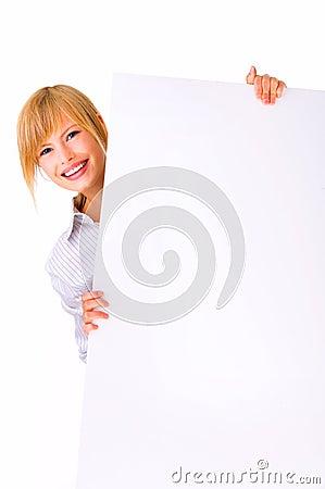 Pretty woman holding a board