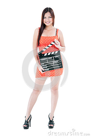 Pretty Woman Holding Clapper Board
