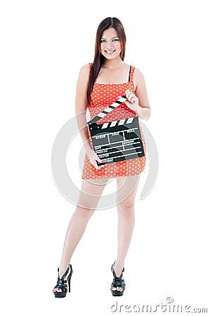 Pretty Woman Holding Clapper Board