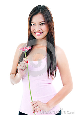 Pretty Woman Holding Flower