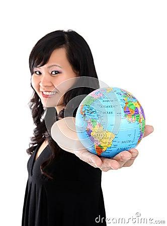 Pretty Woman Holding Globe