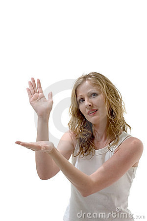 Free Pretty Woman Holding Imaginary Product Royalty Free Stock Images - 919779