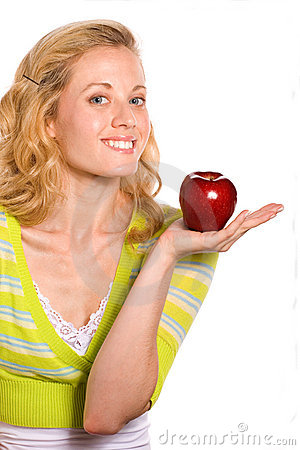 Pretty Woman Holding Red Apple