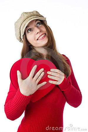Pretty woman holding a valentines day heart