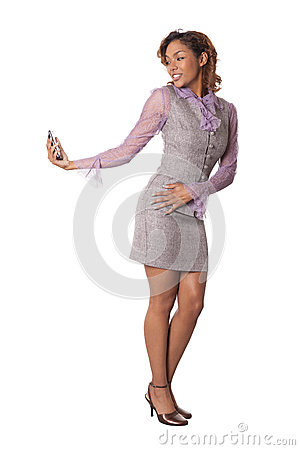 Free Pretty Woman In Skirt Takes A Self Portrait With Her Phone. Stock Photos - 30230713