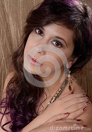 Pretty Woman in Jewelry and Makeup