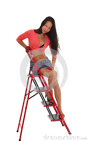 Pretty woman on Ladder, isolated