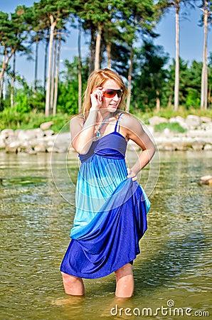 Pretty woman in a long dress