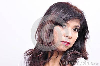 Pretty woman long hair and makeup