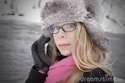 Pretty woman look in winter with snow