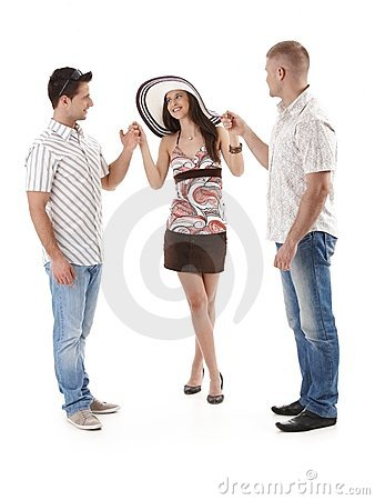 Pretty woman in mini skirt with two men