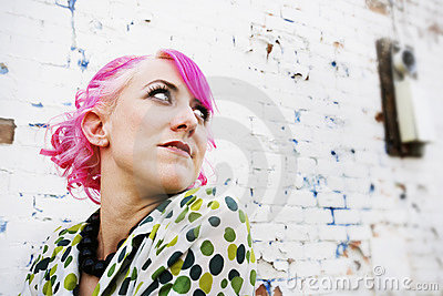 Pretty Woman with Pink Hair