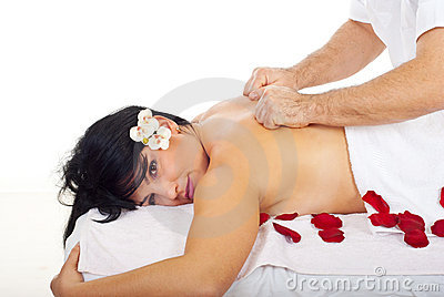 Pretty Woman Receive Deep Back Massage Stock Photography - Image: 16918342