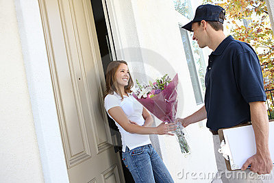 Pretty Woman Receiving Flowers