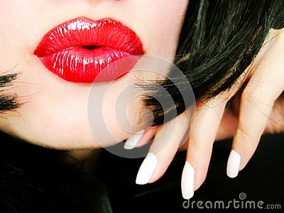 Pretty woman with red lips
