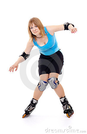 Pretty woman on roller skates