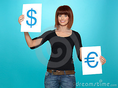 Pretty woman showing dollar and euro signs
