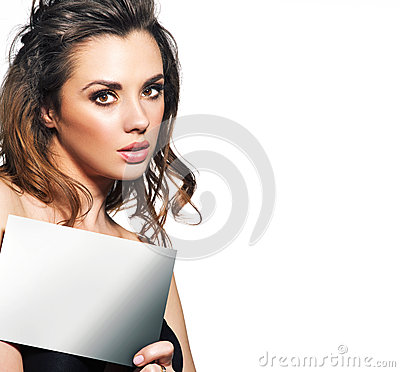 Pretty lady with small empty adverb board