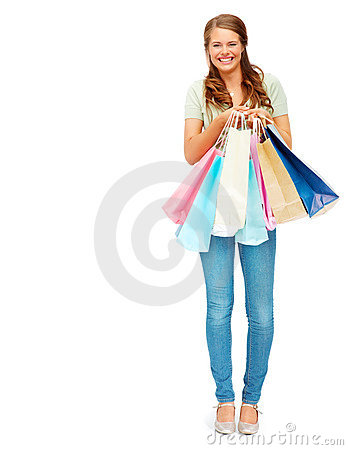 Pretty woman smiling with shopping bags