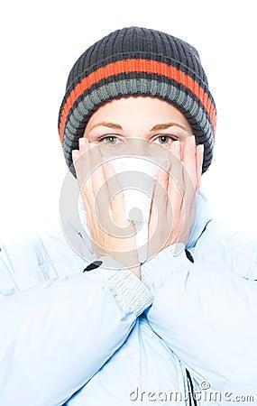 Pretty woman sneeze. flu