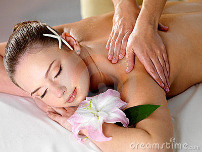 Pretty woman on spa massage
