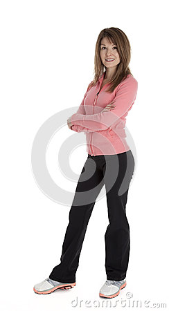 Pretty Woman Standing with Arms Crossed