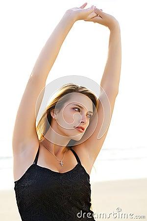Pretty woman stretching
