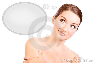 Pretty Lady Thinking About Cloud Speech Or Thought Bubble ... |Pretty Thought Bubbles