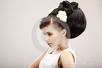 Pretty  Woman with Trendy Luxury Hairstyle