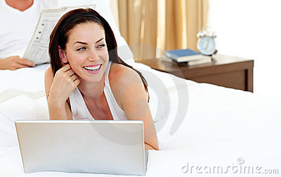 Pretty woman using her laptop