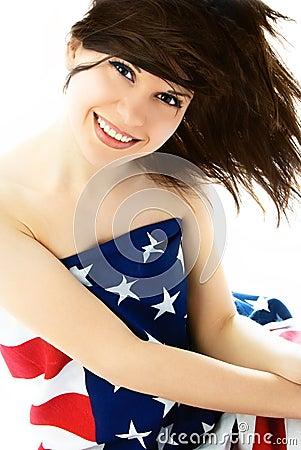Pretty woman wearing an American flag