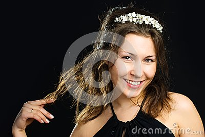 Pretty woman wearing a diadem