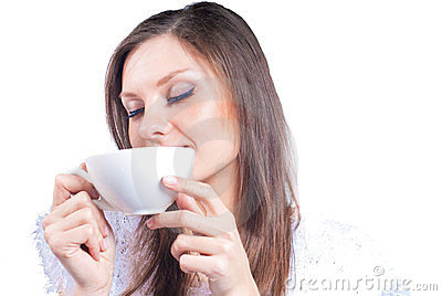 Pretty Woman with white cup eyes closed isolated