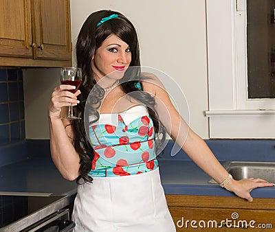 Pretty Woman With Wine