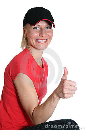 Free Pretty Woman With OK Finger Stock Image - 907921