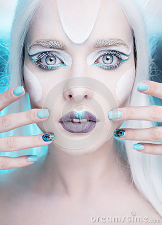 Free Pretty Woman With Snow Queen Makeup And Nails Closeup. Stock Photos - 73078993