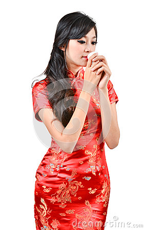 Pretty women with Chinese traditional dress Cheongsam and drinki