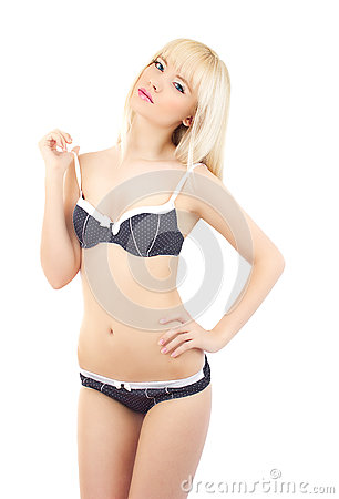 Pretty women in sexy lingerie on white background