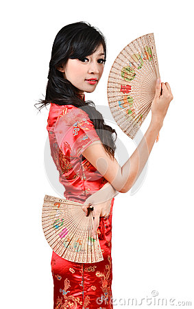 Free Pretty Women With Chinese Traditional Dress Cheongsam And Hole C Royalty Free Stock Photos - 28597168