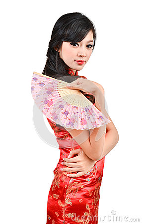 Free Pretty Women With Chinese Traditional Dress Cheongsam And Hole C Royalty Free Stock Photo - 28597225