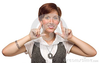 Pretty Young Adult Female Finger Framing Face