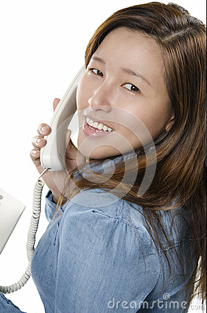 Pretty young adult on the phone