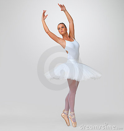 Pretty young ballerina performing against white