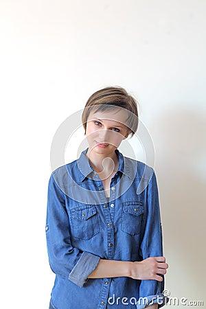 Pretty young blond woman - copyspace