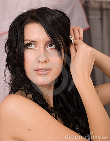 Pretty young brunette bride