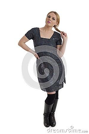 Pretty young female in retro 60s style clothes